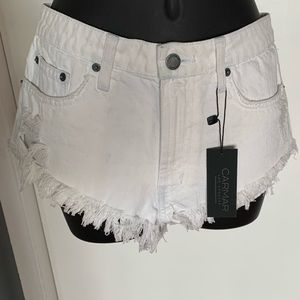 NWT Carmar white/lt bl distressd denim jean shorts